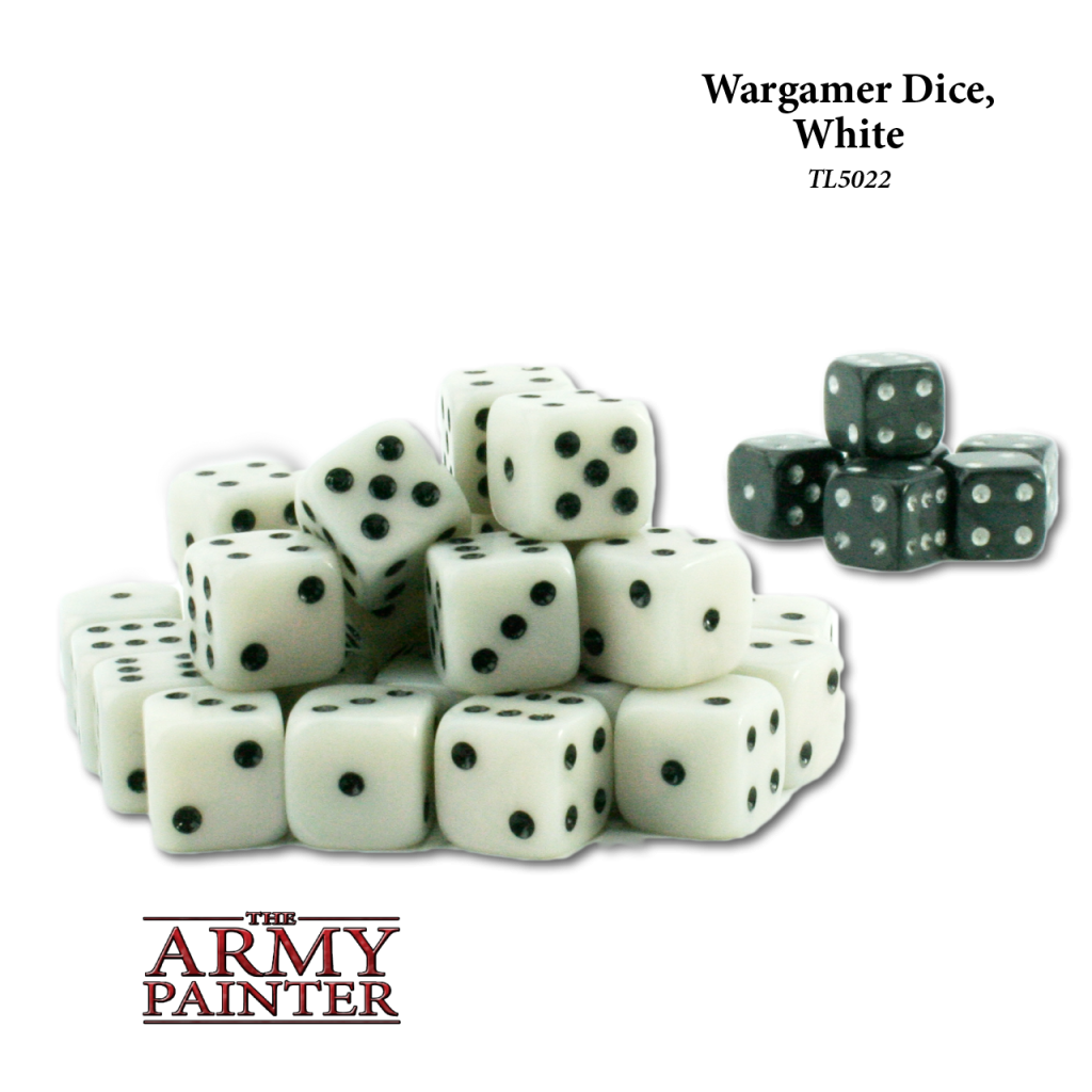 Army Painter Wargaming Dice White with Black