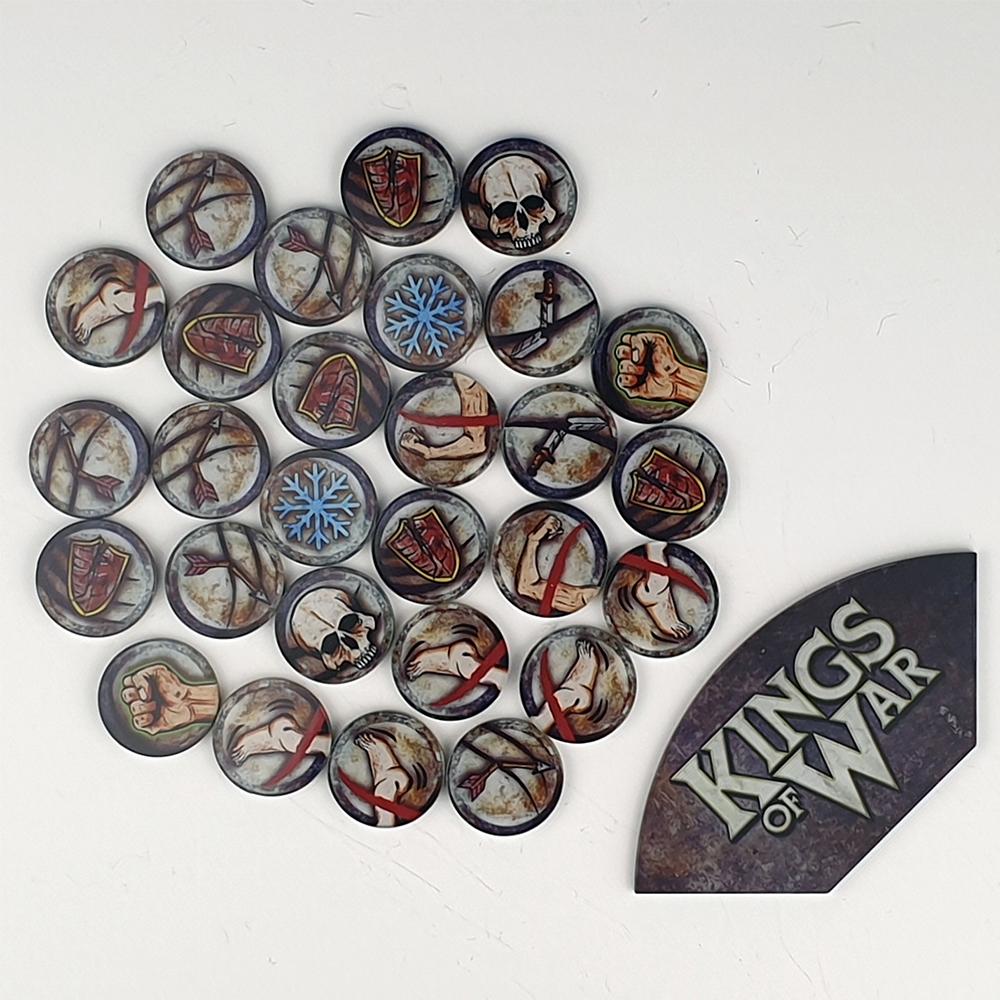 Kings of War Game token set  & Arc Template